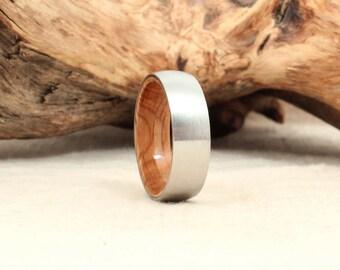 Cobalt Wooden Ring Lined with Whiskey Barrel White Oak Barrel