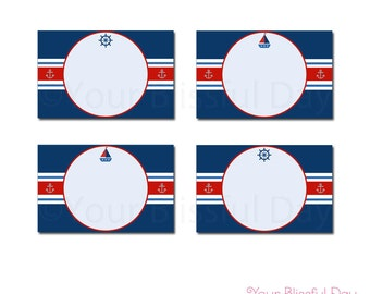 PRINTABLE Nautical Baby Shower Party Label Tents #207