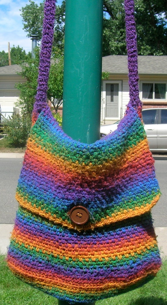 Crochet Rainbow Bag : Rainbow Bag, Rainbow Striped Purse, Handbag, Tote, Crochet, Medium ...