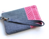 Chambray Wristlet with Raspberry Herringbone - Chambray Clutch - Wristlet Clutch with Detachable Strap - Swivel Clasp - Pink and Chambray