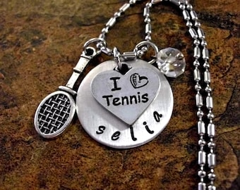 Tennis Necklace, Personalized Jewelry, Tennis Jewelry, Personalized Tennis Racket Jewelry, Sports Jewelry, Hand Stamped Jewelry