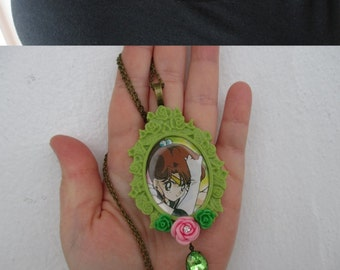 Sale - Sailor Moon  Necklace - SAILOR JUPITER Upcycled Playing card- Fairy Kei, Pastel Goth