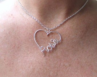 Wow! Guaranteed Name in a Heart Personalized Name Necklace, Handcrafted Custom Name, Name on a Necklace, Personalized Jewelry, Name Jewelry