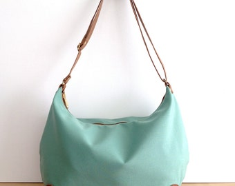 "Crossbody Bag ""round-the-world"" -- Seafoam Green Outdoor Fabric"