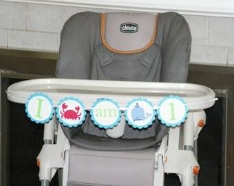 "Happy Birthday Banner, ""1"" High Chair  Banner - whale theme, nautical, ocean theme,  sea theme, boys birthday, girls birthday,"