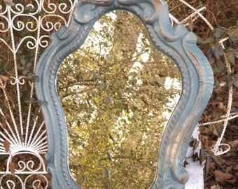 CURVY Mirror, Beach Cottage, Wall Mirror. Ornate ,Shown in Distressed , 35 Tall  x 24 Wide , Choose Color