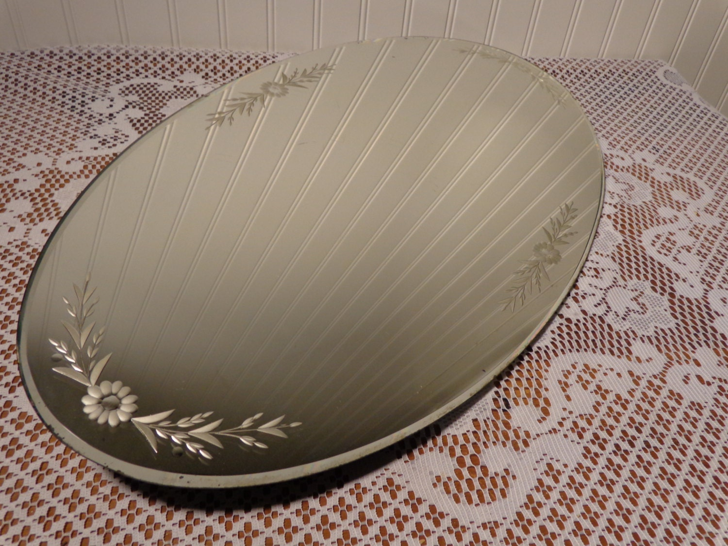 Vintage Etched Oval Vanity Mirror Tray Large Etched