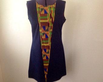 African Ethnic Kente demin godet dress