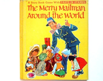 The Merry Mailman Around the World, a Vintage Children's Paste-In Stamps Book, 1955