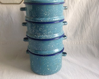 Vintage speckled enamel pots  stacking enamel pots  bento box like