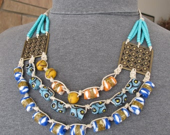 Tribal Ethnic Necklace, Trendy BohoNecklace, Recycled Glass Krobo Beads Bright Colors, Adjustable to 3 Lengths
