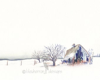 watercolor winter landscape- Barn- Kansas 150- art print