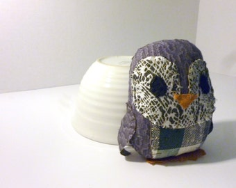Derrick the Penguin - 5 Inch Plush Penguin Made From Salvaged and Re-Purposed Fabric