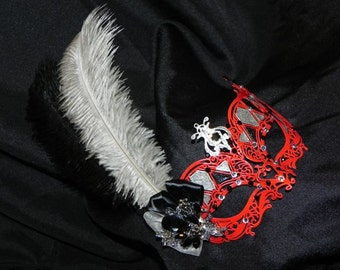 Metal Harlequin Mask in Red, Black and Silver - Made to Order