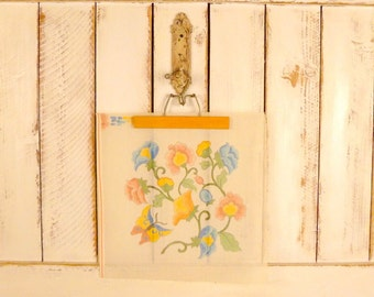 70s vintage floral needlepoint canvas pattern