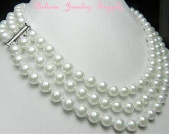 Shop Closing Clearance Sale 3 Row White PEARL Necklace 8mm Round White Pearl Jewelry 3 Strand Hand Knotted Necklace Pearl Jewelry Birthstone