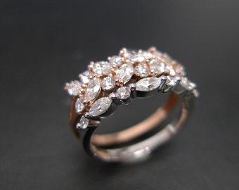 Marquise Diamond Engagement Ring Trillion Diamond Ring