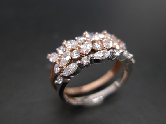 set of two marquise engagement ring and wedding band