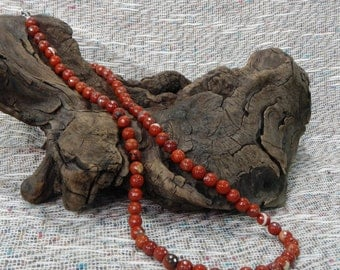 """Red River jasper necklace 24"""" long faceted red jasper beads semiprecious stone jewelry packaged in a colorful gift bag 10651"""