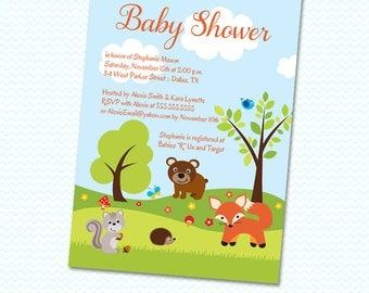 Woodland creatures baby shower invitation - Printed or Digital Version Available