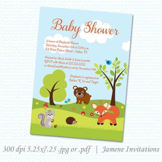Woodland creatures baby shower invitation  Printed or Digital Version