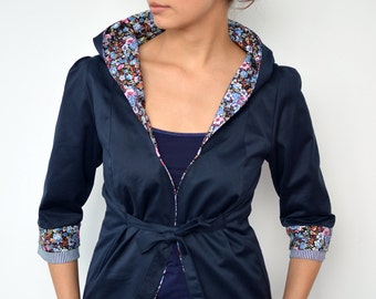 blue blazer - flowers - belt