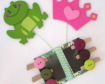 Children's Artwork Display Hanger, Princess Crown and Frog Prince, Kids Wall Art, Art Hangers, Wall Decor, Art Organizer