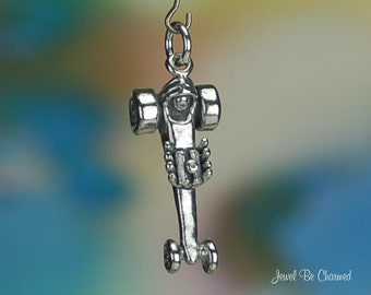 Sterling Silver Dragster Charm Drag Racer Race Car 3D Solid .925