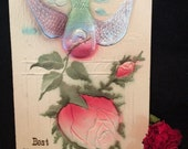 Victorian Embossed Romantic Postcard - Iridescent Winged Birg with Pink Rose