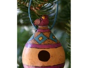 Rustic Birdhouse Gourd Ornament, Purple and Blue Decorative Bird House, Natural Ornament, Holiday Decoration