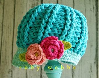 Crochet Newsboy Hat Pattern, Newsboy Hat, Crochet Pattern, 3 sizes, Crochet hat patterns,  Crochet, Patterns, hat pattern, hat crochet