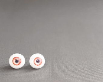 Ruby Red and Off-White Eyeball Stud Earrings // CLEARANCE SALE