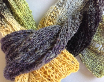 Hand Knit Scarf, Color Gradations Scarf, Silk Linen Yarn, Quiltsy Handmade,