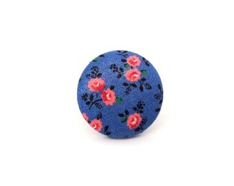 Large blue pink ring - big vintage style button ring - rose flower fabric ring bright happy cute adjustable