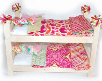 Double Doll Bunk Bed - Pretty Pink Poppies American Made Girl Doll Bunk Bed - Fits 18 inch dolls and AG dolls
