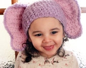 3 to 6m Elephant Baby Hat, Crochet Baby Elephant Beanie, Infant Animal Hat, Lilac Purple Baby Pink Elephant Ears Prop Photo Prop Gift