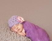 Baby Girl Hat, NEWBORN 0 to 1 Months Baby Girl Hat, Girl Flapper Beanie, Lavender with Rose, Pink Flower. Newborn Photo Shoots. Baby Gift.