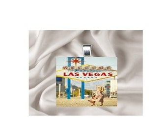 Scrabble Tile Pendant Necklace Travel (Landmarks) Las Vegas