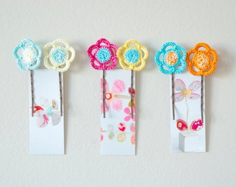 Crocheted Flower Bobby Pins - Spring Hair Accessories