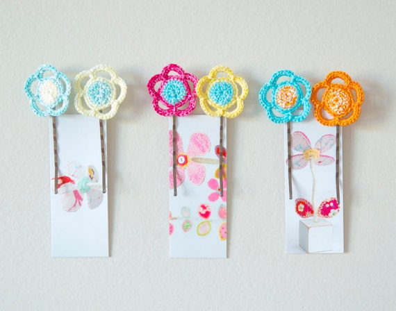 Crochet Hair Using Bobby Pin : Crocheted Flower Bobby Pins Spring Hair Accessories by peaqo