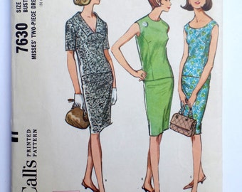 Vintage pattern McCall's 7630 Jackie Kennedy 1964 1960s slim suit pencil skirt  two piece dress Mad Men Bust 34