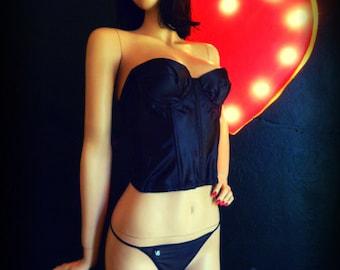 Madame Lys- Glossy Black Satin Bustier- 38B