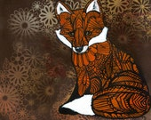 Fox Art Print Zentangle - Archival Limited Edition