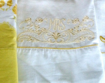 3 VINTAGE PILLOWCASES, Autumn Colors Tan-Gold-Yellow, 1 Floral Print & 2 Embroidered, Super Soft Sleep!