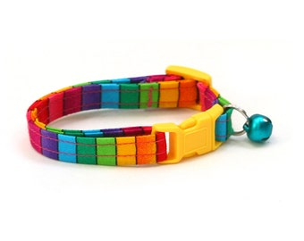 Rainbow Cat Collar - Bright Rainbow Stripes - Kitten or Large Size