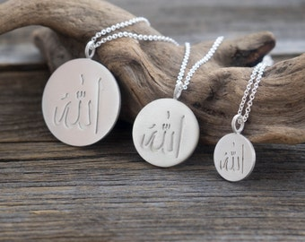 Sterling Silver Allah Necklace - Personalized Jewelry. Monogram & Name Necklaces. Custom Calligraphy, Arabic Script Pendant Gift for Her