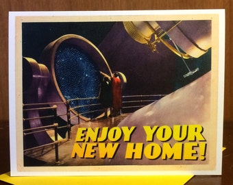New Home, New Homeowner, New Home Card, SciFi Art, Telescope, Housewarming, retro poster, movie poster, Alternate Histories, Geekery