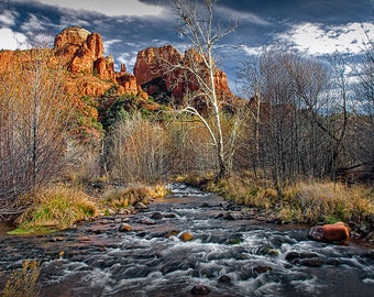 Cathedral Rock with the Saddle Points and Oak Creek Panorama in the Coconino National Forest by Sedona Arizona No.1FS A Red Rock Photograph