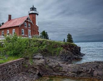Eagle Harbor Lighthouse on Lake Superior on the Keweenaw Peninsula in the Michigan Upper Peninsula No.0211 A Fine Art Seascape Photograph