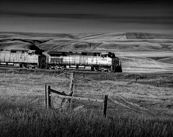 BNSF Railroad Train traveling through Northern Montana No.1938BW A Fine Art Railway Landscape Photograph